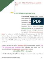 CTRI Technician Syllabus PDF _ ICAR CTRI New Exam Pattern