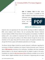 BSNL JE Syllabus 2016 _2700 BSNL TTA Junior Engineer Test Pattern