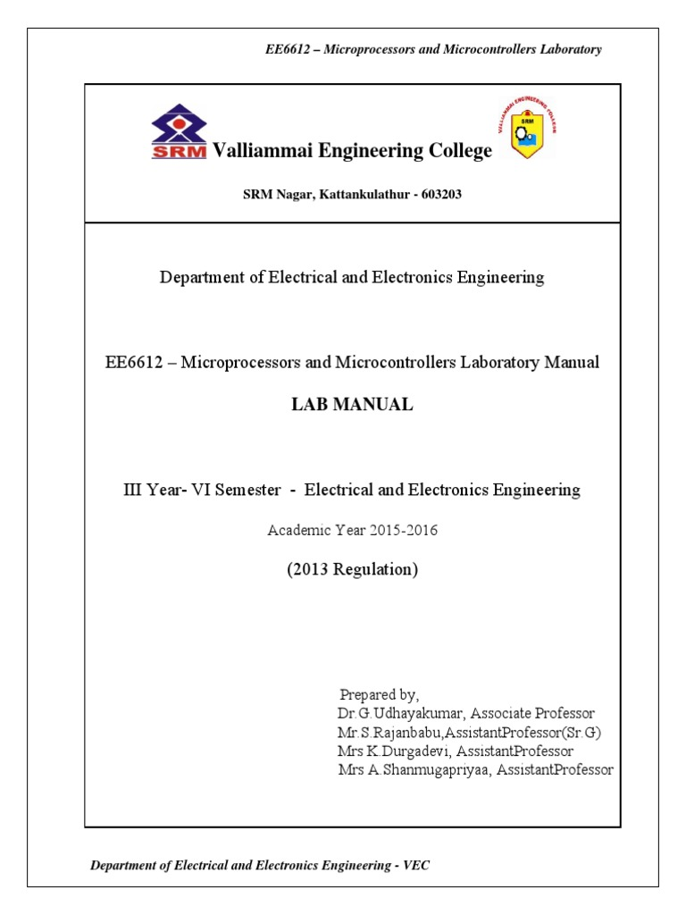 EE6612-Miroprocessor and Microcontroller Laboratory.pdf | Analog To Digital  Converter | Central Processing Unit