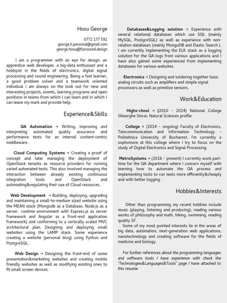 Curriculum Vitae - Web Developer | Linux | Operating System