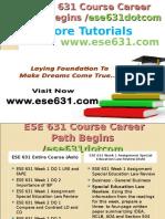 ESE 631 Course Career Path Begins Ese631dotcom