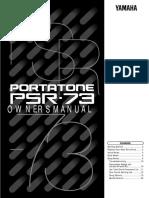 Manual YAMAHA PSR73