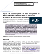 Impact of agro-ecosystem on risk management in agriculture in some selected areas of Bangladesh
