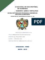 PRÁCTICA N 3 Operación de Columna de Platos