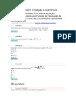 Exercícios Sobre Equação Logaritimica