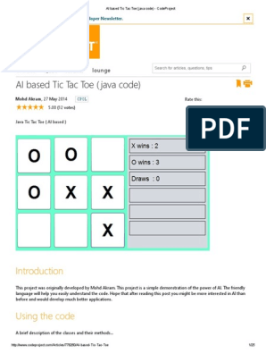 AI Based Tic Tac Toe (Java Code) - CodeProject | Computer