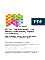 LTE TAL Size Planning in Live Networks (Improving Paging Success Rate)