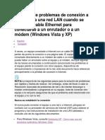 Solución de Problemas de Conexión a Internet o a Una Red LAN Cuando Se Utiliza Un Cable Ethernet Para Conectarse a Un Enrutador o a Un Módem
