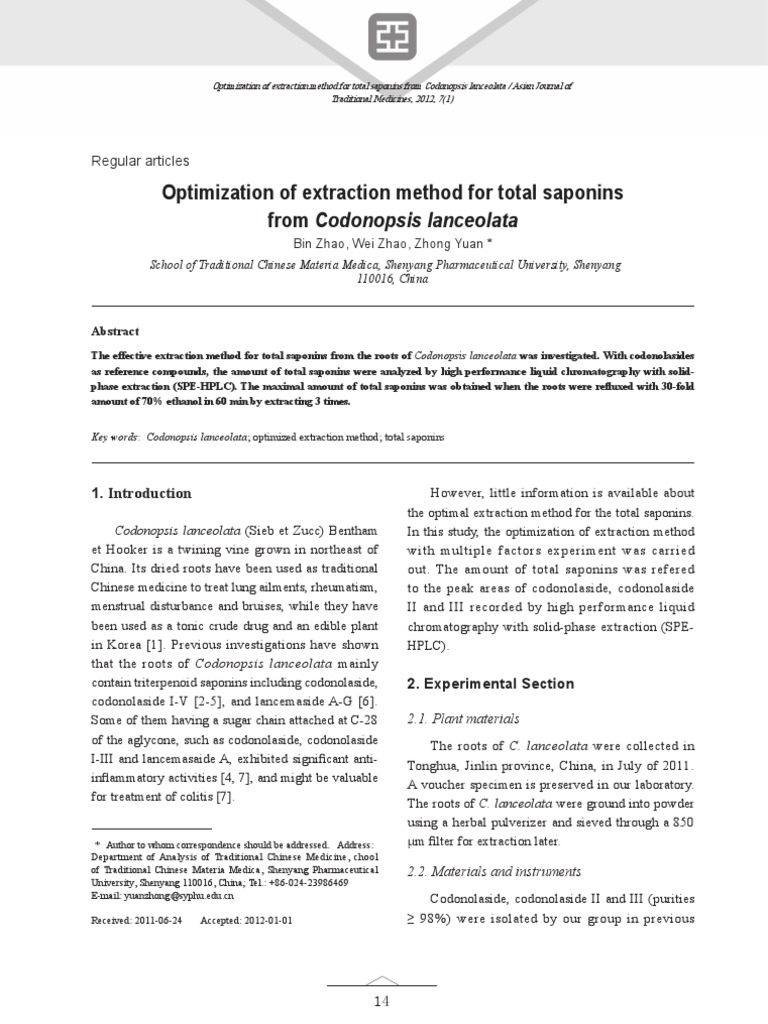 Optimization of Extraction Method for Total Saponin From