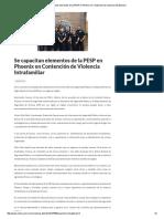 03/07/16 Se capacitan elementos de la PESP en Phoenix en Contención de Violencia Intrafamiliar -Critica