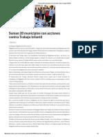 02/07/16 Suman 20 municipios con acciones contra Trabajo Infantil -Critica