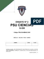 Ensayo Nº2 Psu Ciencias IV-medio 2016