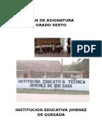Plan de Asinatura Sexto Grado Docente Laura Pinzón