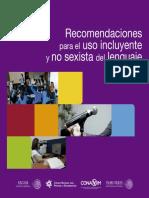 """""""Recomendaciones para el uso incluyente y no sexista del lenguaje"""""""