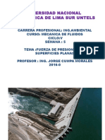 UNTECS MECANICA DE FLUIDOS SEMANA Nº 5 FUERZAS SOBRE SUPERFICIES PLANAS 2016-0.pptx