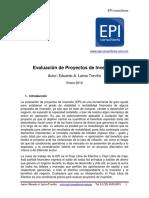 Articulo de EvaluacióTHNn de Proyectos de Inversión. EPI-consultores