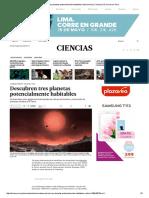 Descubren Tres Planetas Potencialmente Habitables _ Astronomía _ Ciencias _ El Comercio Peru