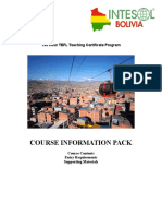Intesol Bolivia Information Pack - Dates and Syllabus