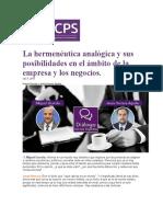 La Hermenéutica Analógica y Sus Posibilidades en El Ámbito de La Empresa y Los Negocios