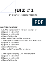 Quiz #1-Special Products