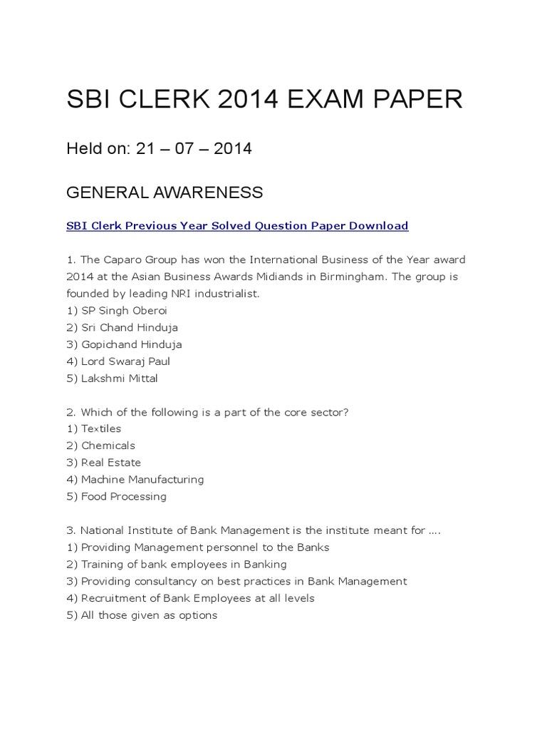 sbi clerk 2014 exam date