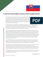 Il semestre slovacco di presidenza UE