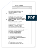 Working Capital Management-SMU Project report - table of contents