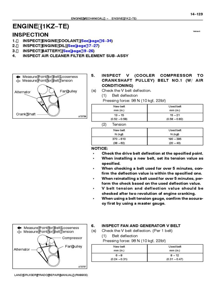Toyota Corolla Repair Manual: Fan and generator v belt