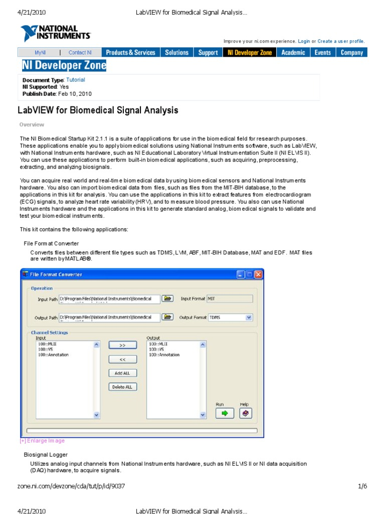LabVIEW for Bio Medical Signal Analysis - Developer Zone