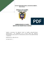 Proyecto de Pliegos de Condiciones Para El Concurso de Méritos Abierto