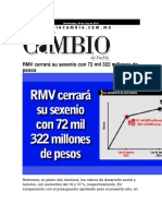 18-11-2015 Diario Matutino Cambio - RMV Cerrará Su Sexenio Con 72 Mil 322 Millones de Pesos