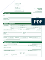Stansfield College Employment Application Form