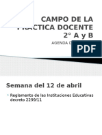 aGENDA LECTURA CAMPO DE LA PRACTICA DOCENTE 2° A