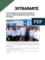 25-11-2015 Contraparte - Una Sociedad Productiva Permite Combatir La Pobreza, Afirman Rafael Moreno Valle y Paula Hernández