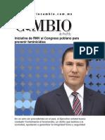 26-11-2015 Diario Matutino Cambio - Iniciativa de RMV Al Congreso Poblano Para Prevenir Feminicidios