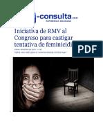 26-11-2015 E-Consulta - Iniciativa de RMV Al Congreso Para Castigar Tentativa de Feminicidio