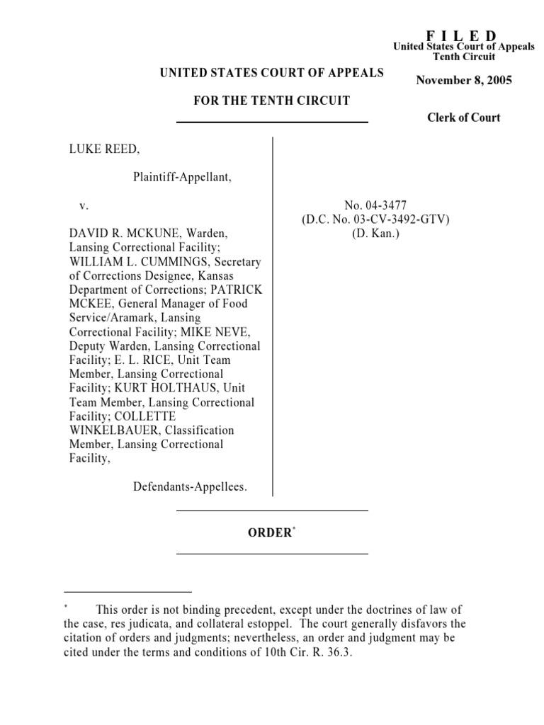 Reed v  McKune, 10th Cir  (2005)   Lawsuit   Appeal