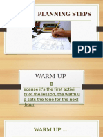 stages of a lesson plan - warm up