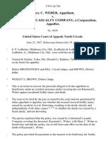 Mary C. Weber v. Continental Casualty Company, a Corporation, 379 F.2d 729, 10th Cir. (1967)