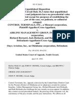 Control Terminals, Inc., a Missouri Corporation, Plaintiff-Appellee/cross-Appellant v. Airline Management Group, Inc., a Florida Corporation, Richard Bernard, Jack Richards, and Ruth Richards, Defendants-Appellants/cross-Appellees, and Onyx Aviation, Inc., an Oklahoma Corporation, 931 F.2d 62, 10th Cir. (1991)