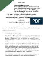 United States v. Blanca Elizabeth Michaels, 931 F.2d 900, 10th Cir. (1991)