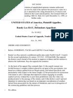 United States v. Randy Lee Ray, 10 F.3d 810, 10th Cir. (1993)