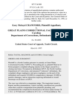 Gary McLoyd Crawford v. Great Plains Correctional Facility North Carolina Department of Corrections, 107 F.3d 880, 10th Cir. (1997)