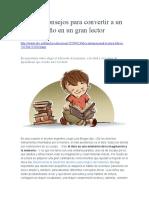 Cinco Consejos Para Convertir a Un Niño en Un Gran Lector