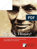 No U.S. History? How College History Departments Leave the United States out of the Major