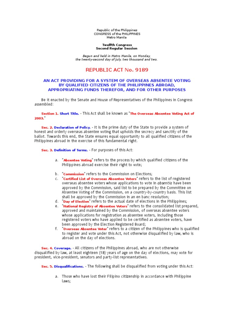 r.a. no. 9189- oversea voting   absentee ballot   united states