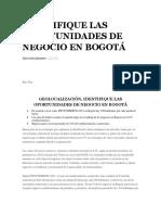 Identifique Las Oportunidades de Negocio en Bogotá