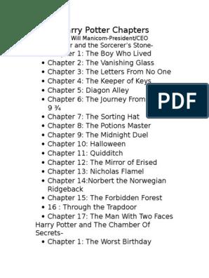 Harry Potter Chapters Artificial Mythology Fantasy Worlds