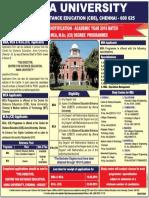 Advertisement - Anna University Distance Education MBA 2016
