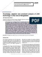Knowledge, adoption and constraint analysis of chilli technology in Char area of Bangladesh